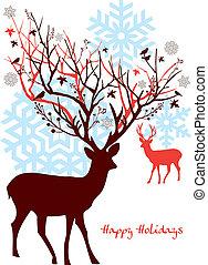 træ, vektor, rådyr, jul