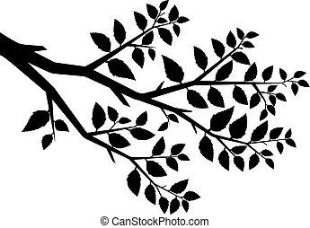 træ, vektor, silhuet, branch