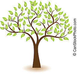træ, vektor, symbol, logo