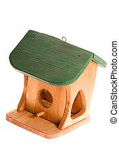 træagtig birdhouse, isoleret, på, den, hvid