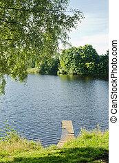 træagtig bro, hos, sø