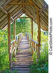 træagtig bro, ower, i ligevægt, sø, hos, dag