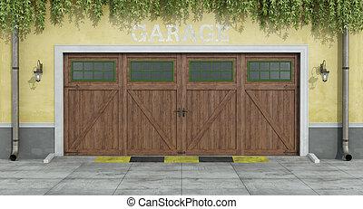 træagtig vogn, klassisk, to, garage