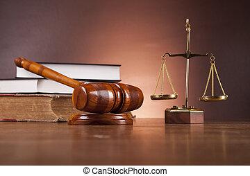 træagtigt skrivebord, ind, en, lov firma