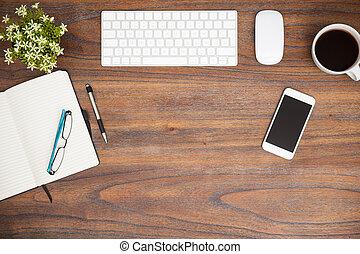 træagtigt skrivebord, ind, en, moderne, kontor