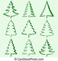 træer christmas, samling