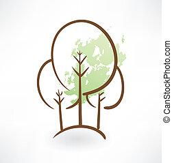 træer, grunge, ikon