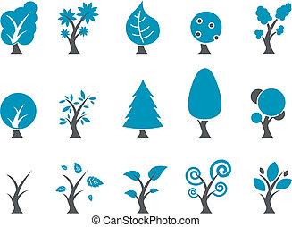 træer, ikon, sæt