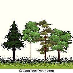 træer, og, buske