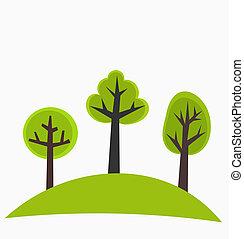 træer, på, høj