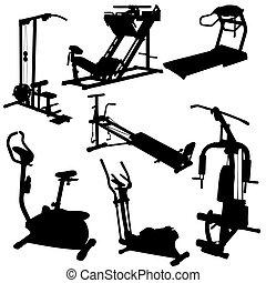 træner, silhuetter, vektor, illustration