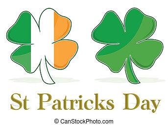 trèfle, drapeau irlandais, pousse feuilles