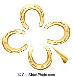 trèfle, feuille, fer cheval, chance, symbole