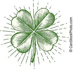 trèfle, feuille, vendange, -, illustration, quatre, vecteur, (hand, dessiné, style), gravé