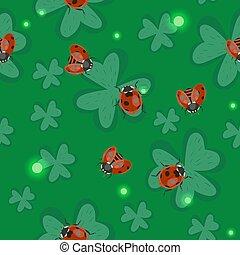 trèfle, ladybugs., pattern., seamless, texture, vecteur