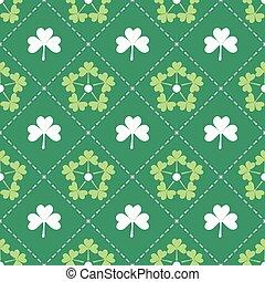 trèfle, modèle, irlandais, feuilles