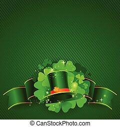 trèfle, rue., patrick's, arrière-plan vert, chapeau, jour