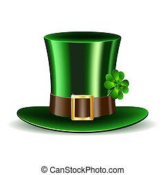 trèfle, rue., patrick's, chapeau vert, jour