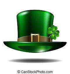 trèfle, rue., patricks, chapeau vert, jour