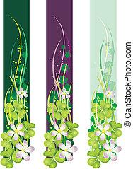 trèfles, fleurir, bannière, vertical, printemps