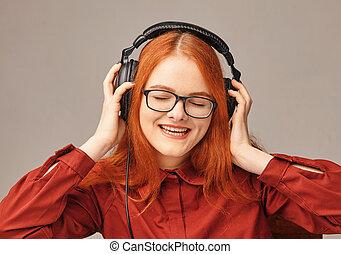 très, écoute, écouteurs, heureux, musique, girl, jeune