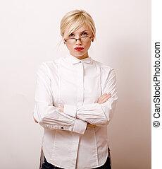 très, émotif, femme affaires, lunettes