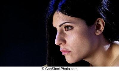 très, déprimé, femme, closeup, triste