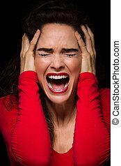 très, désordre, femme fâchée, émotif