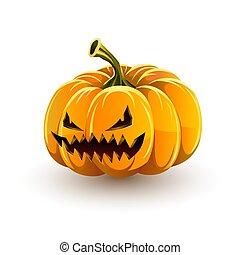 très, fâché, halloween., halloween, mal, jack-o' - lanterne, citrouille