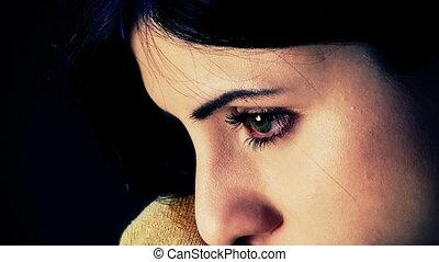 très, femme, closeup, extrême, triste