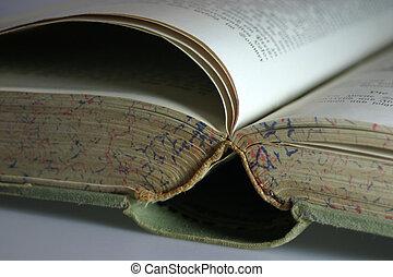 très, livre, vieux
