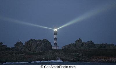 très, puissant, phare, illuminer