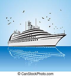 très, réaliste, bateau, vue, croisière