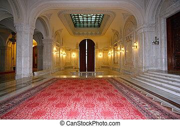 très, salle, palais, luxueux