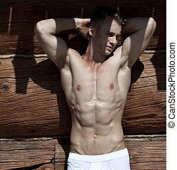 très, sans chemise, musculaire, portrait, modèle, mâle