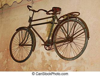 très, vieille bicyclette, sur, mur
