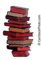 très, vieux livres, empilé