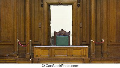 très, vieux, salle audience, (1854), à, juges, chaise, à,...