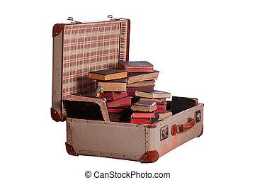 très, vieux, valise, bourré, à, vieux livres