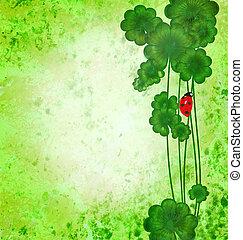 trébol, con, mariquita, en, verde, grunge, textura, plano de fondo, s., patrick, día, frontera, ilustración