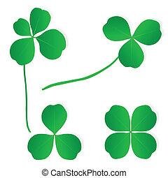trébol de cuatro hojas, trébol, suerte, vector, y, monedas...