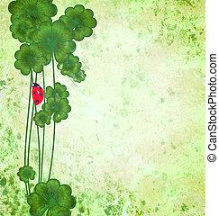 trébol, grunge, mariquita, patrick, s., ilustración, verde, textura, plano de fondo, frontera, día