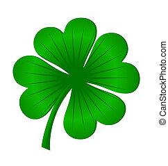 trébol, hojas, aislado, vector, verde, 4, blanco, suerte