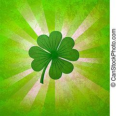 trébol, hojas, verde, 4, suerte