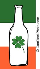trébol, irlandés, cerveza