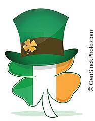 trébol, irlandés, sombrero, s., patrick's