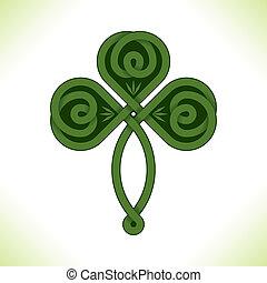 trébol, irlandés, vector, verde