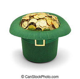 trébol, leprechuan, sombrero, oro