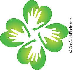 trébol, logotipo, manos