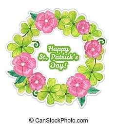 trébol, saludo, flores, día, tarjeta, st.patrick